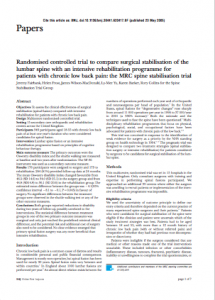 Randomised controlled trial to compare surgical stabilisation of the lumbar spine with an intensive rehabilitation programme for patients with chronic low back pain: the MRC spine stabilisation trial